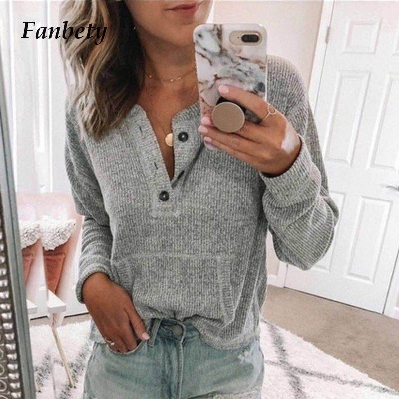 Fanbety Women Autumn Long Sleeve Button Rib Blouse Elegant 2019 Winter Casual Solid Color Basic Shirt Blusas Lady Plus Size Tops