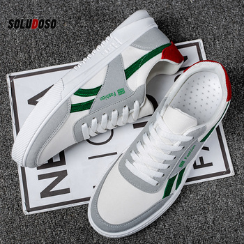 2020 New Casual Shoes Men Leather Flat Shoes Lace-up Low Top Sneakers Classic Canvas Man Fashion Shoes Comfortable Shoes For Men недорого
