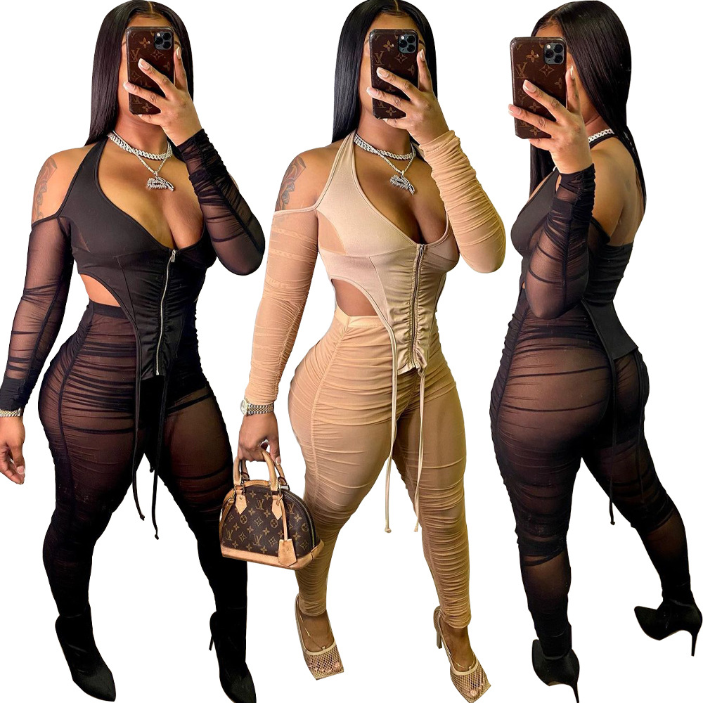 Echoine Women Sheer Mesh See Through Two Piece set Off Shoulder Backless Crop Top & Ruched Stacked Legging Tracksuit Outfits|Women