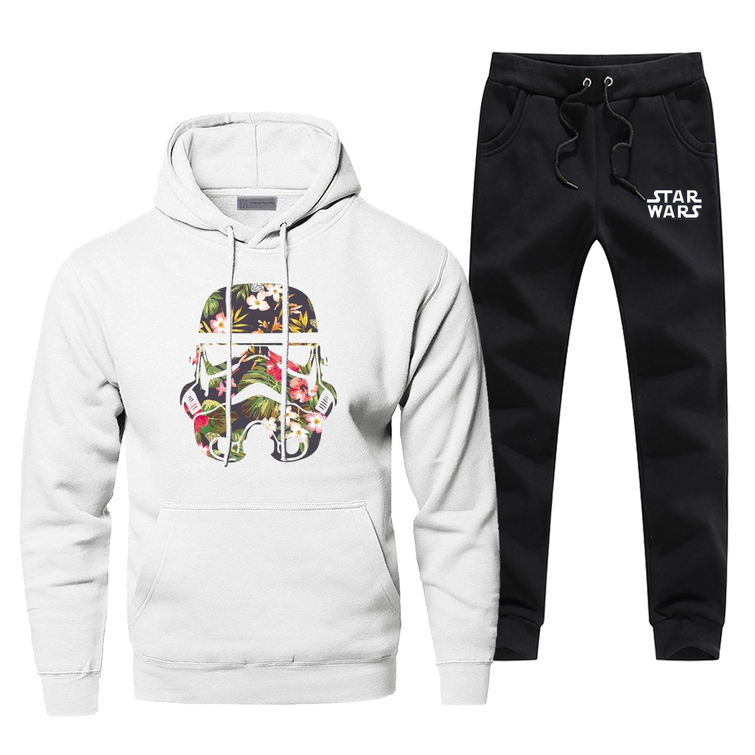 Star Wars Hoodies Pants Men Sets Selfie Stormtrooper Starwars Suit Pant Sweatshirt Sweatpants Sportswear Autumn 2 PCS Tracksuit