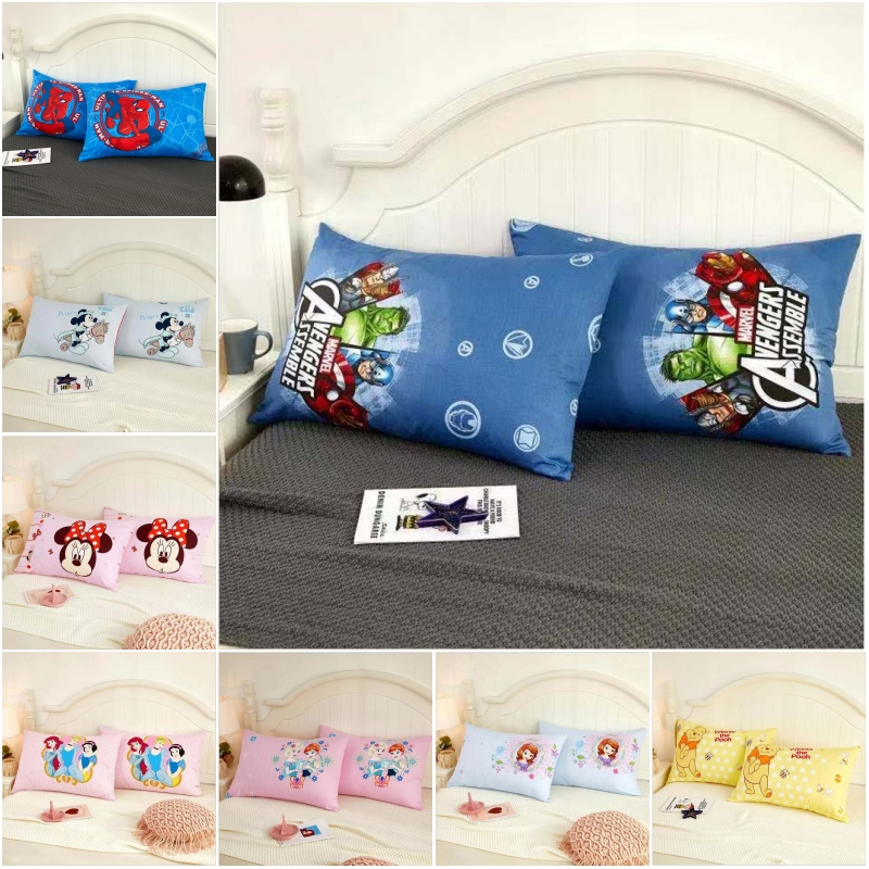 Disney Cotton Cartoon Baby Kids Pillowcases 2Pcs  Avengers Spiderman Big Hero Winnie Baymax Pillow Cover Decorative Pair 48x74cm