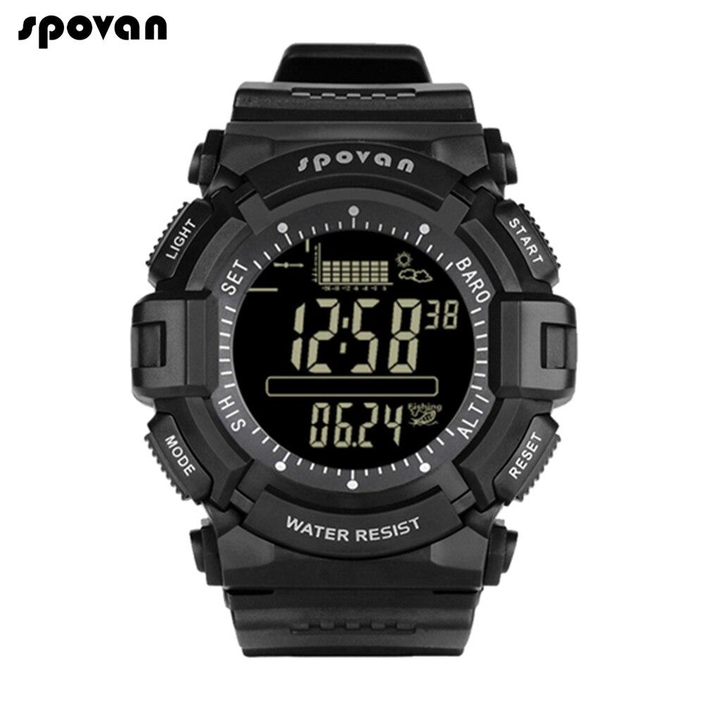 Spovan светодиодный цифровой мужской часы мужские военные спортивные умные часы водонепроницаемый высотомер компас наручные часы Секундомер...