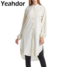 Fashion Women Shirt Dress Korean Style OL High-Low Long Sleeve Button Down Solid Color Dresses Casual Party Woman Clothing