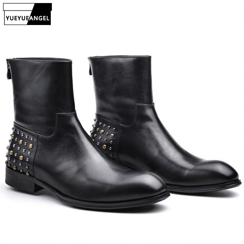 Brand Men Pointed Toe Formal Boots Luxury Business Back Zip Rivet 100% Real Leather Ankle Shoes Motocycle Bota Masculina 38-43