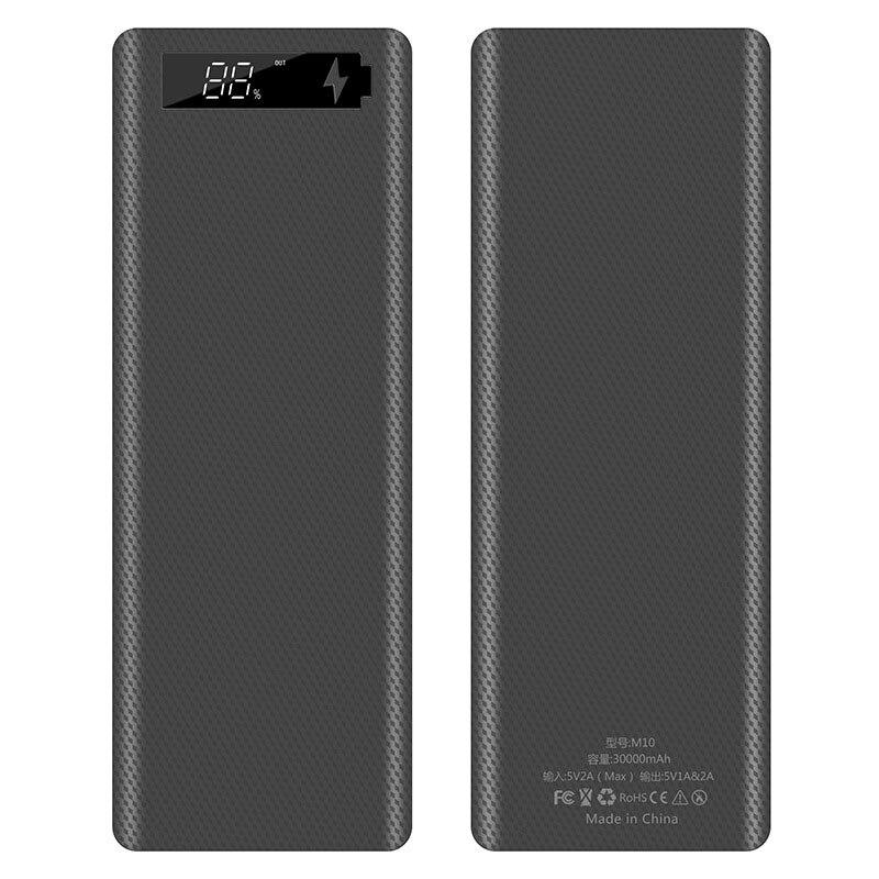10*18650 Dual USB Power Bank Battery Box Shell 5V/2A 30000mAh DIY Charging Box For IPhone Samsung Powerbank Shell