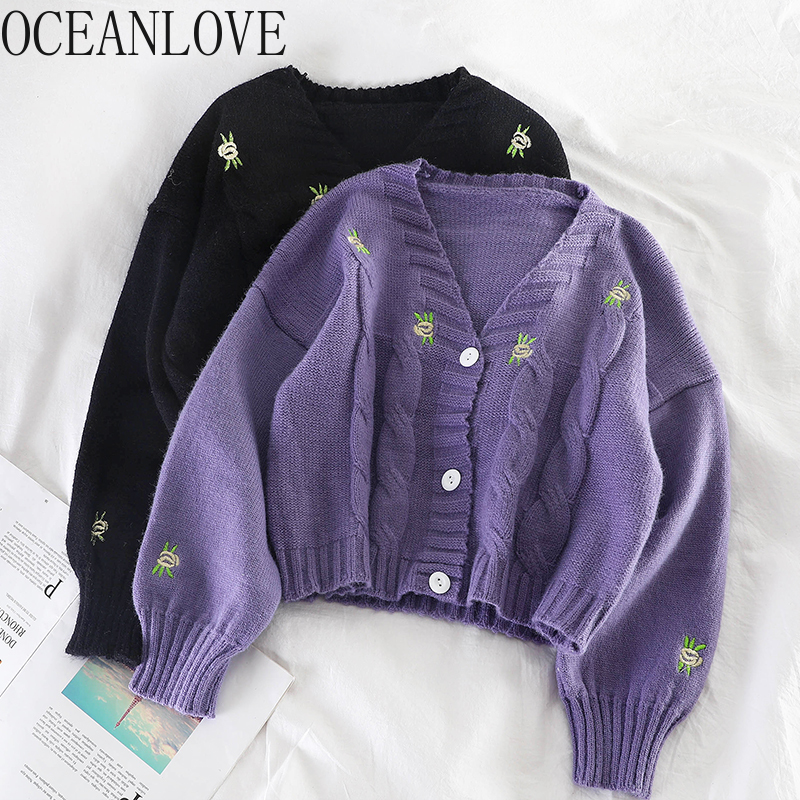 OCEANLOVE Short Cardigans Embroidery Floral Fashion V Neck Sweaters Women 2020 Single Breasted Korean Chaqueta Mujer 13138