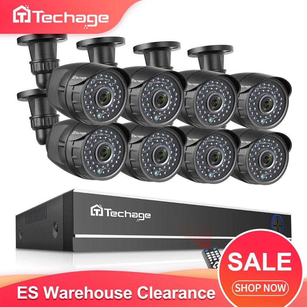 Techage 8CH 1080P HD CCTV Surveillance System AHD DVR Kit 2MP IR Im Freien Wasserdichte Kamera Sicherheit P2P Video Set ES Lager