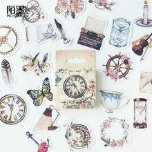 Pegatinas de reloj en caja, bricolaje álbum de recortes papel planificador diario álbum Vintage sello decoración (42 puede elegir los estilos)