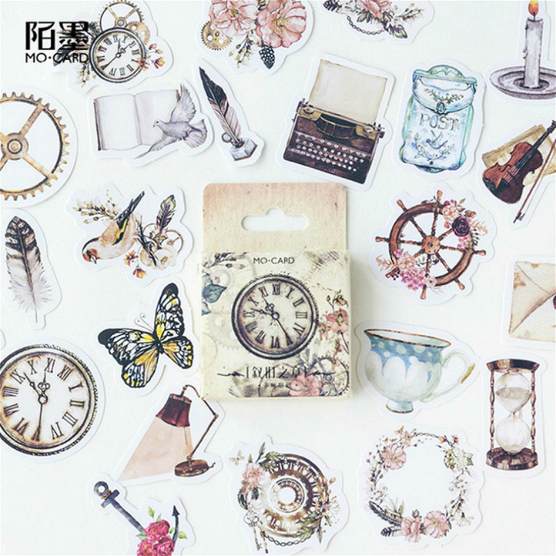 (42 Styles Can Choose) Clock Sticker Boxed Stickers DIY Scrapbooking Paper Diary Planner Album Vintage Seal Decoration