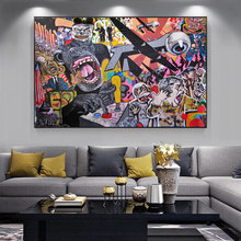 Graffiti Monkeys And Kinds Of Animals Wall Art Paintings Large Size Print on Canvas Art Wall Pictures Posters and Prints Cuadros