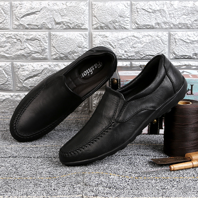 Genuine Leather Mens Shoes Casual Men Black Dress Loafers Lightweight Adulto shoes Male Comfortable Summer Shoes Moccasin Homme
