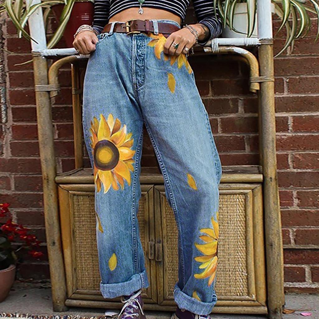 2020 Jeans For Women Jeans Mid Waist LadyCasual Slim Jeans  Sunflowers PrintSlim Pants Length Jeans джинсы женские