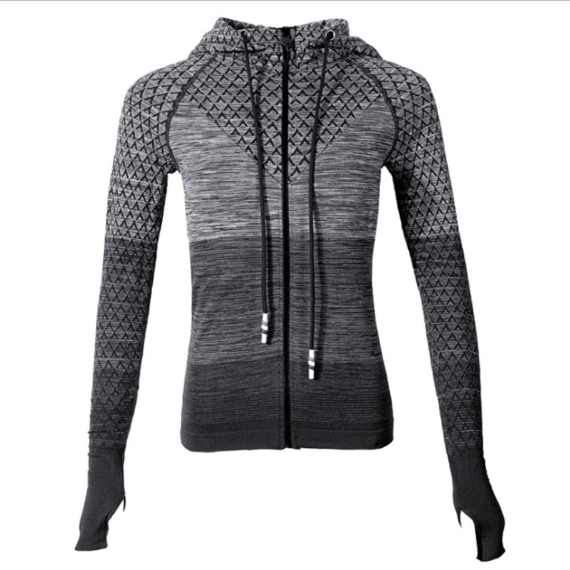 Women Sport Coats Yoga Running Zipper Fitness Tracksuits Training Coat Long Sleeve Sweatshirts With Hoodies Quick Dry Sportswear