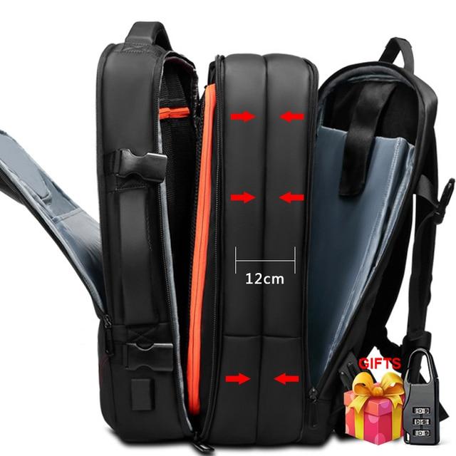 حقيبة السفر سعة كبيرة الذكور Mochila حقيبة الظهر القابلة للتوسيع مع USB شحن حقيبة كمبيوتر محمول على ظهره مقاوم للماء متعددة الوظائف