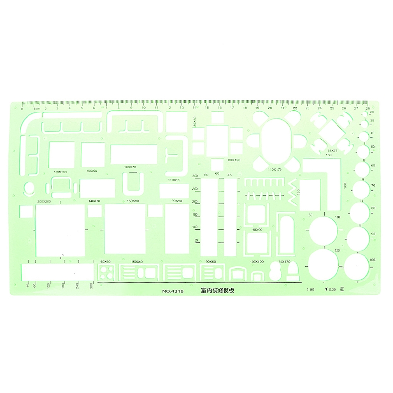 Plastic Circles Square Geometric Template Ruler Stencil Measure Tool Students