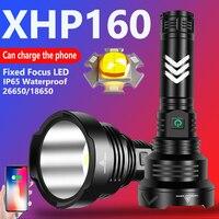 Linterna focal de LED fija superbrillante, XHP160, 4 núcleos, recargable vía USB, táctica, autodefensa, luces de trabajo