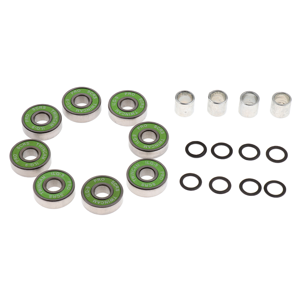 Skateboard Speed Kit- Bearing ,Spacers And Speed Washers Green