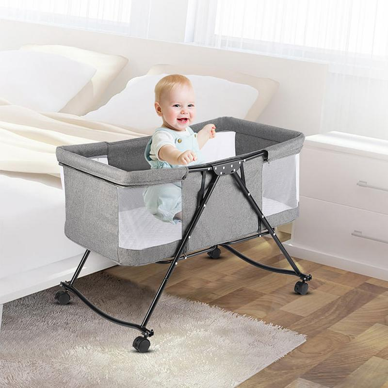 Multifunction Portable Foldable Crib With Mosquito Net And Universal Wheels For Newborns Portable Cribs For Sleeping Baby Bed