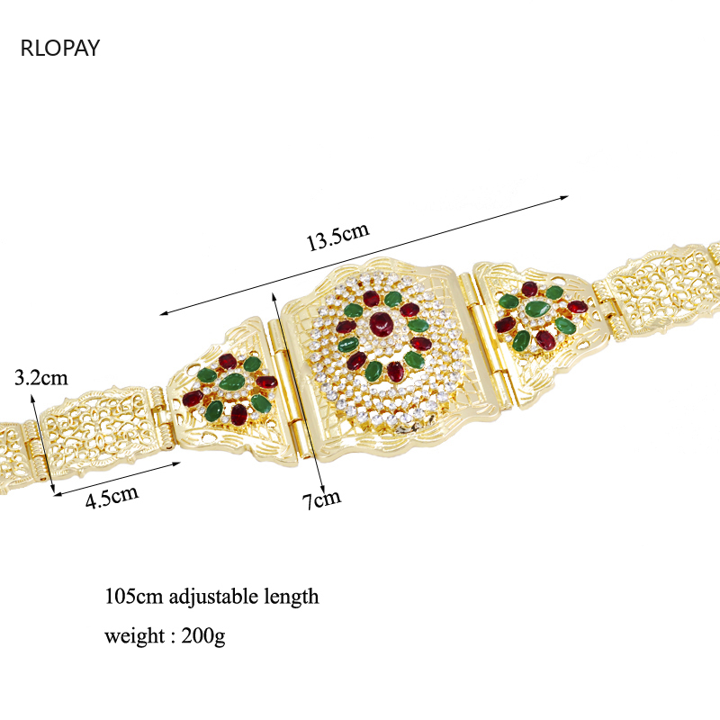 Image 4 - New Moroccan Chic Caftan Belt For Women Luxury Birdal Wasit Band  With Colorful Rhinestone Arabic Gold BeltsBody Jewelry