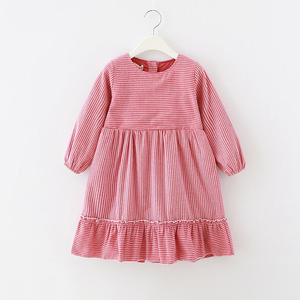 Kids long sleeve red striped princess dress girls cotton o neck dresses autumn clothing toddler girl dresses big girl clothes in Dresses from Mother Kids