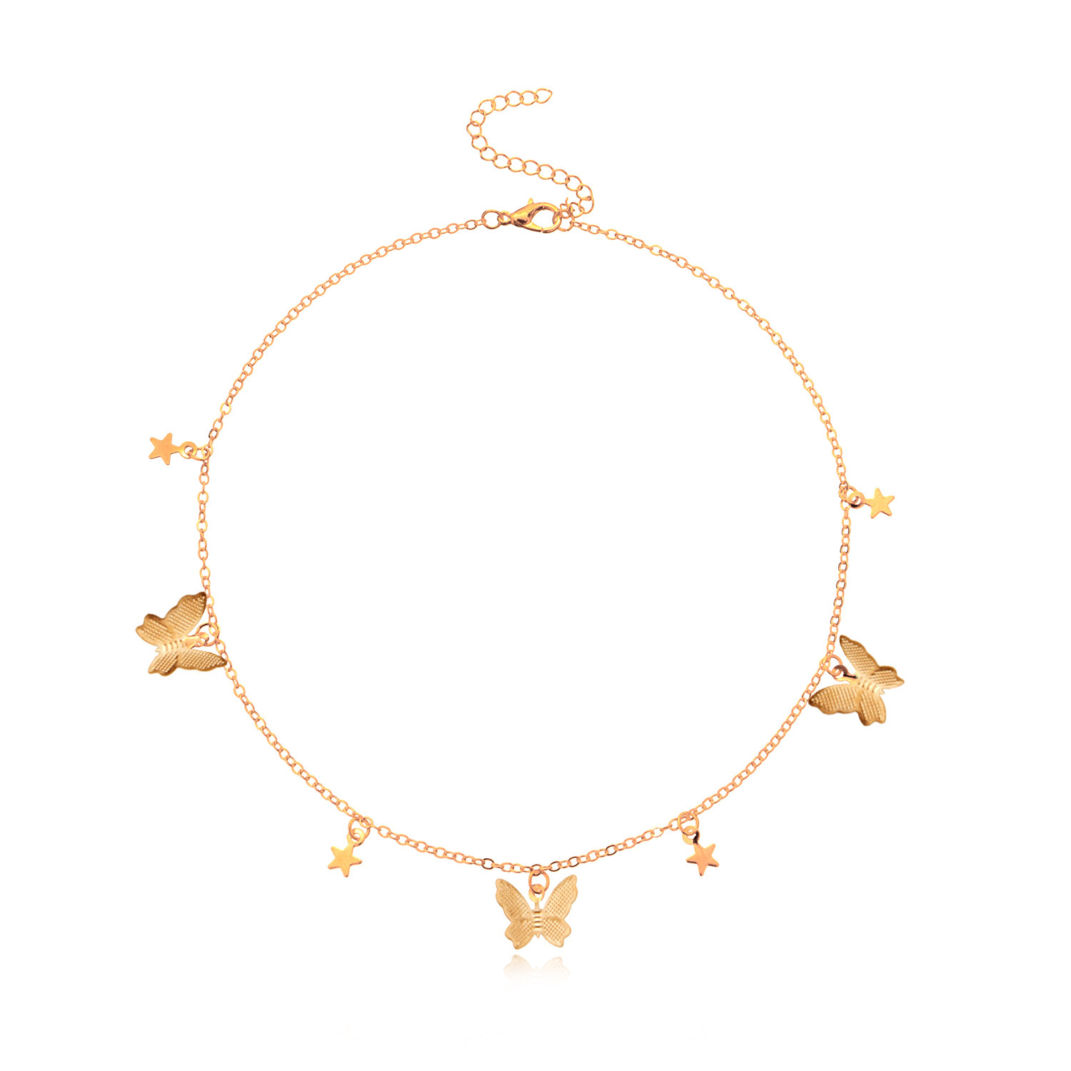 Butterflies Stars Pendants Necklace for Women Gold Color Choker Short Necklaces Female Clavicle Chain Simple New 2020
