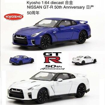 Kyosho 164 Nissan GT-R R35 Premium 50th Anniversary Parel Wit/Blauw Metallic Diecast Model Auto