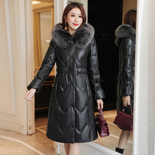 Women PU Leather Parkas Coat Winter Cotton-padded Jacket Korean Fashion Woman Fur Hooded Plus Size