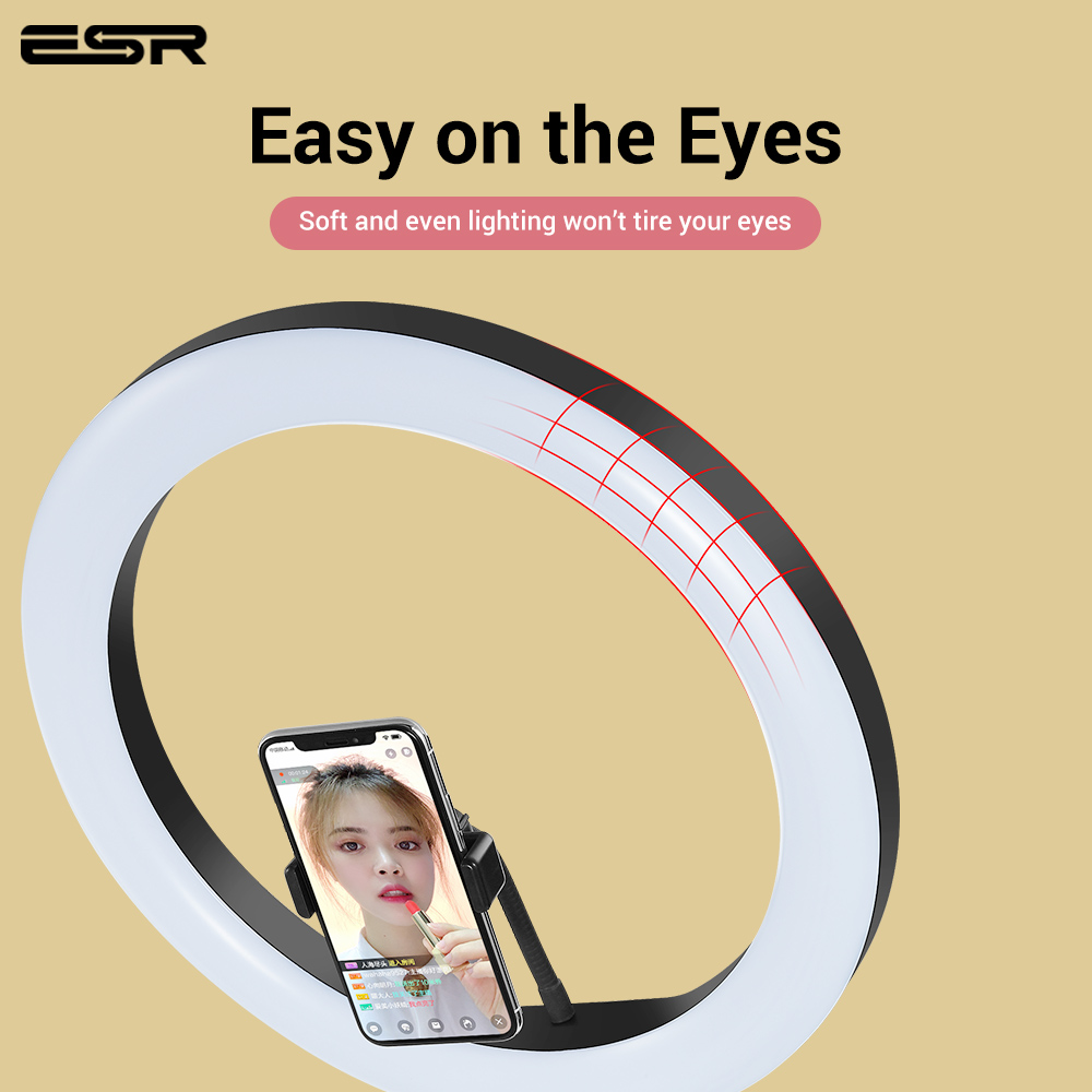 ESR Luz de vídeo regulable LED Selfie anillo luz USB Lámpara de luz de fotografía soporte de teléfono 2M trípode soporte para maquillaje Youtube - 5