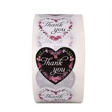 500 шт/рулон наклейки цветок черный и белый в форме сердца благодарим вас наклейка на юбилей, свадьбу, подарок украшения