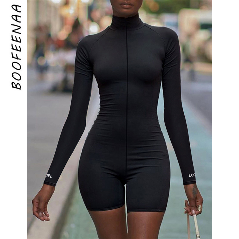 BOOFEENAA Sexy Front Zip Long Sleeve Bodycon Biker Short Rompers Women Active Jumpsuit Letter Embroidery Ribbed Playsuit C66CG24