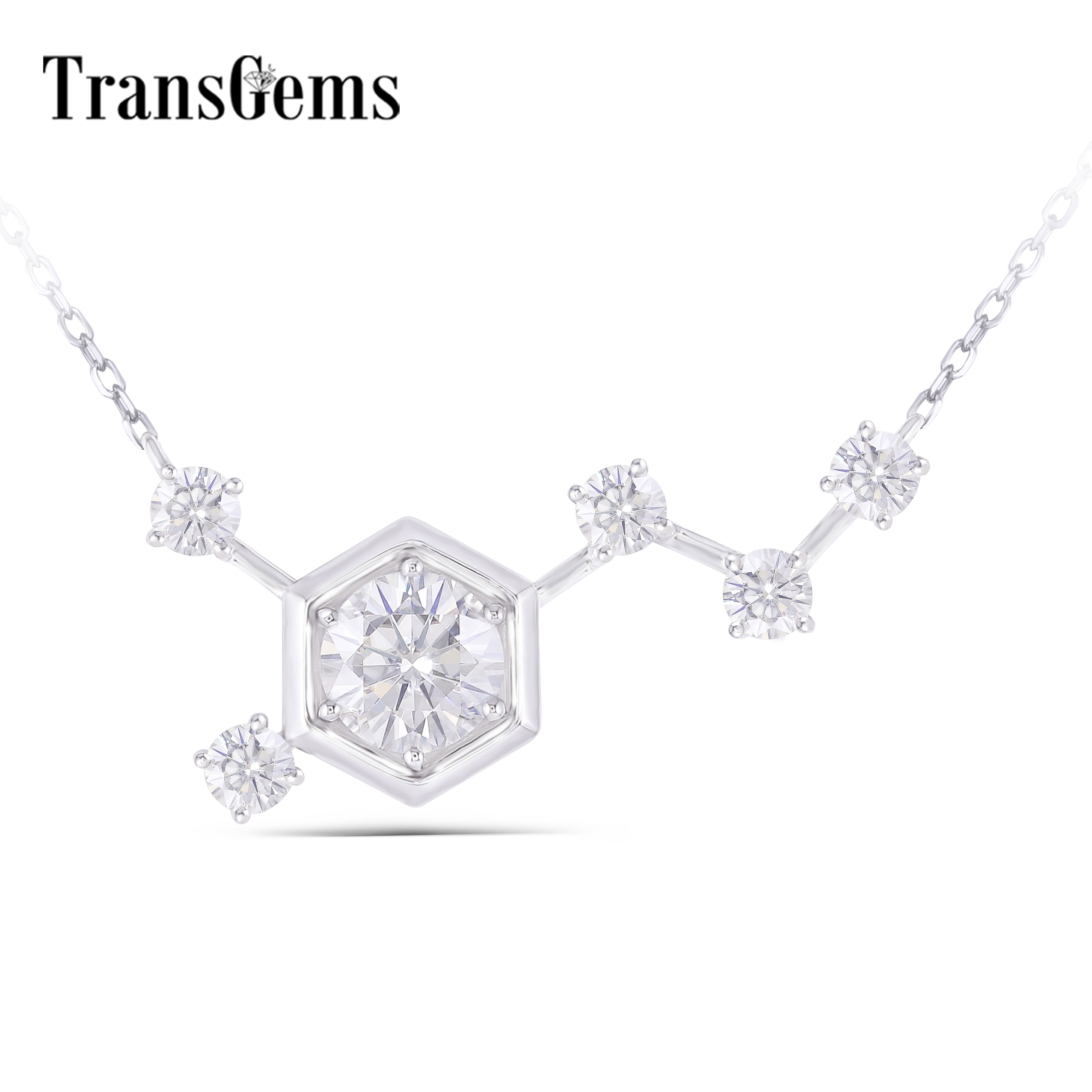 Transgems 14K White Gold Center 6 5mm 1ct F Colorless Moissanite Pendant Necklace With Accents For Women Anniversary Gifts in Pendants from Jewelry Accessories