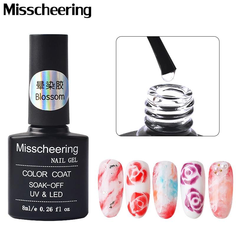 Прозрачный цветной гель для ногтей, 8 мл, мраморный градиентный Цветущий эффект, лак для ногтей, удаляемый замачиванием, гало, красящий клей ...
