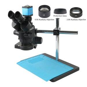 3.5X-90X Zoom промышленный лабораторный Simul-focal стерео микроскоп тринокулярный микроскоп набор + 14MP 1080P HDMI VGA камера для ремонта печатных плат