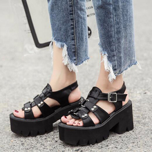 Women shoes gladiator sandals women summer shoes ankle strap heels women cross strap sandals women chunky shoes YMA258-1