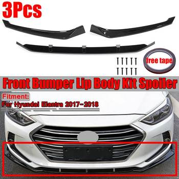 3Piece Car Front Bumper Lip Splitter Body Kit Spoiler Diffuser For Hyundai Elantra 2017 2018 Glossy Black 3Pcs Front Bumper