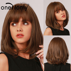 oneNonly Short Bobo Ombre Brown Synthetic Wigs with Bangs Layered Hairstyle for White Black Women Natural Hair Heat Resistant