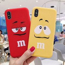 Cute Child birthday present Chocolate M Beans Soft Silicon phone Case for 6 7 8 X XS XR MAX 11 Pro Plus cute cartoon cover coque