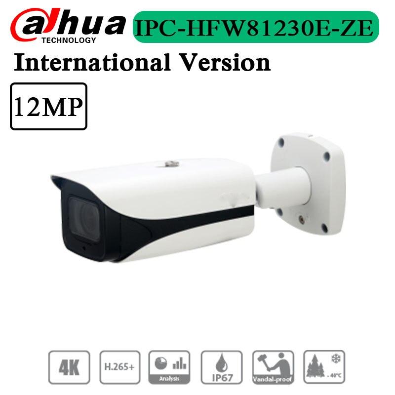 Бесплатная доставка, Оригинальная английская версия, 12 МП, ИК-цилиндрическая сетевая камера, наружная Поддержка POE + IPC-HFW81230E-ZE