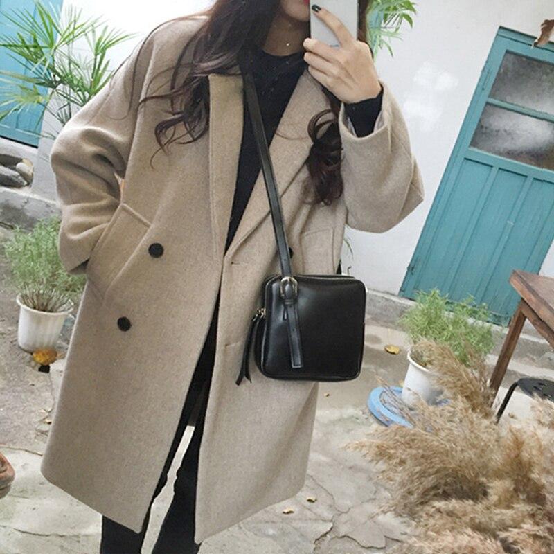 Korean Style Women's Long Coat Solid Beige Black Coat Female Turn-down Collar Long Sleeve Autumn Winter Warm Coats For Women