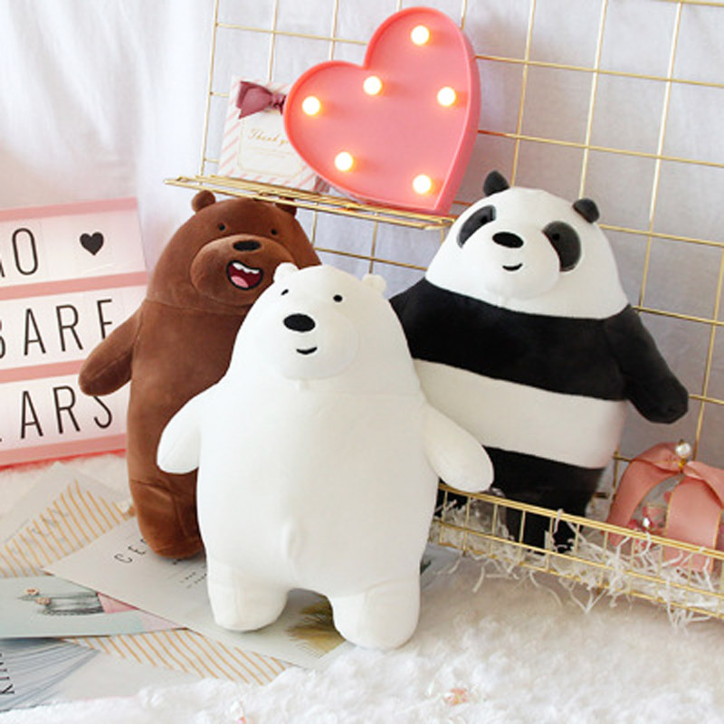 30cm Anime Cartoon Three Bare Bears Very Soft Plush Doll Cute Standing Panda Polar Bear Teddy Stuffed Toys Decoration Gifts
