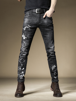 Free Shipping New 2019 men's male black Embroidered jeans slim pants classical art Chinese style embroidery denim trousers