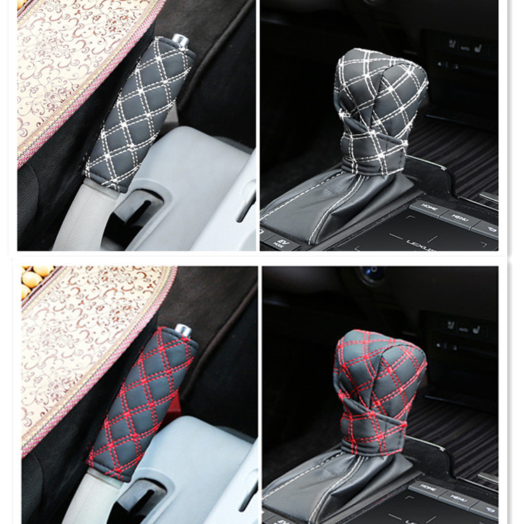 Car Wine Two Pieces Stick Shift Dust Cover Car Handbrake Gear Cover 2 Pieces Manual Grip Cover Car Interior Trim
