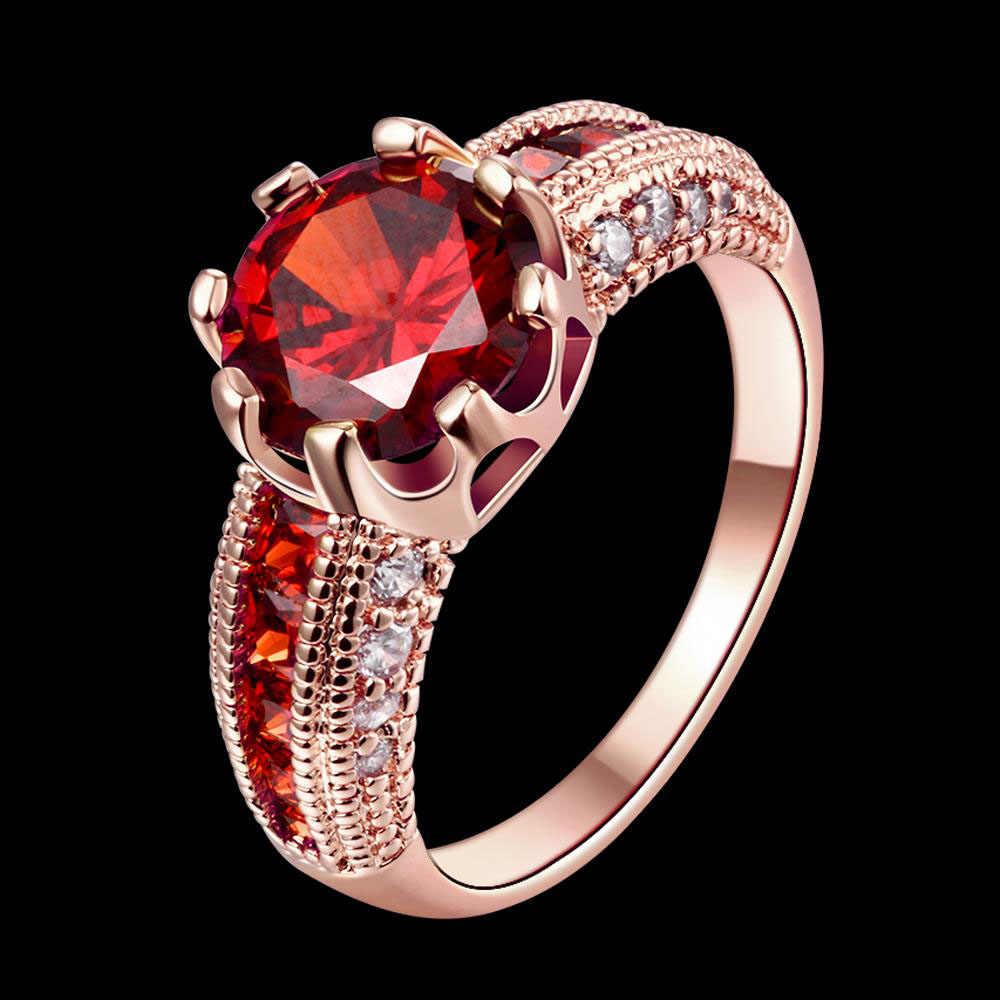 2 צבעים לוקסוס טבעת אדום גדול אבן לבן/עלה זהב צבע טבעות לנשים חתונה חגיגה תכשיטי קלאסי מקורי עיצובים