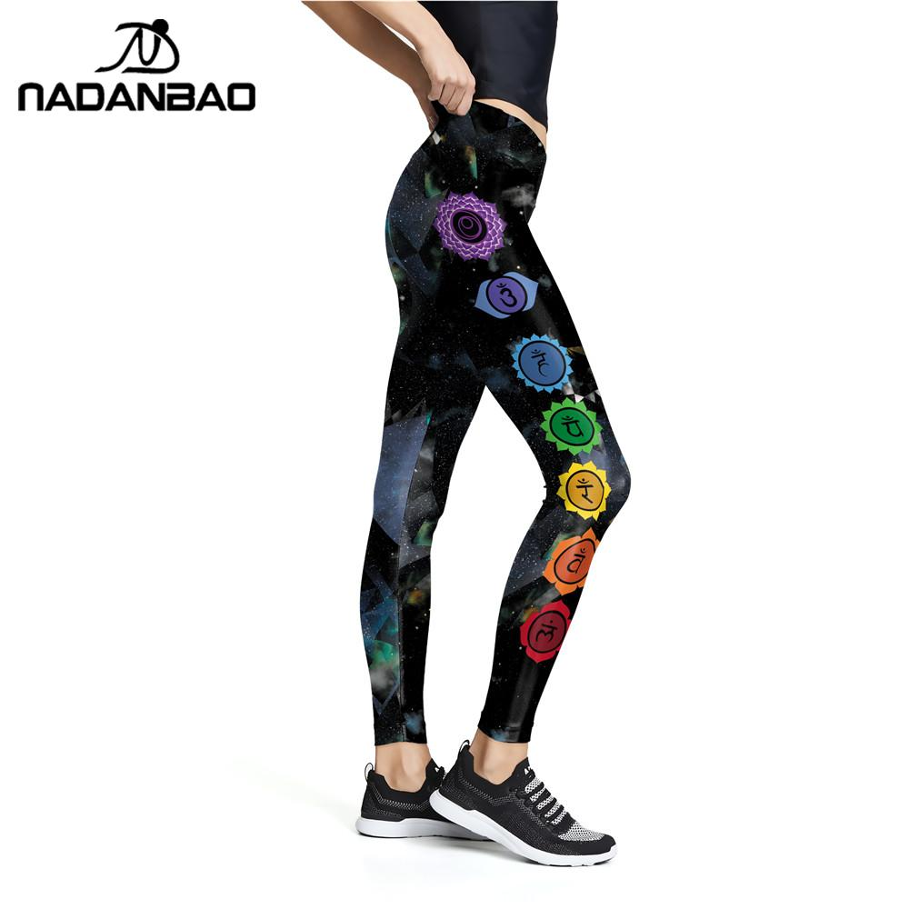 NADANBAO New Seven Chakra Geometric Printed Women Leggings Mandala Fitness High Waist Pants Aztec Round Flower Legins XL Size