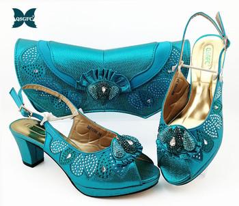 Ostatni włoski projekt błękitny kolor panie buty z pasujące torby nigerii kobiet buty i torby aby dopasować na imprezę tanie i dobre opinie QSGFC Pantofle Kopyt obcasy Wysoka (5 cm-8 cm) Pasuje większy niż zwykle proszę sprawdzić ten sklep jest dobór informacji