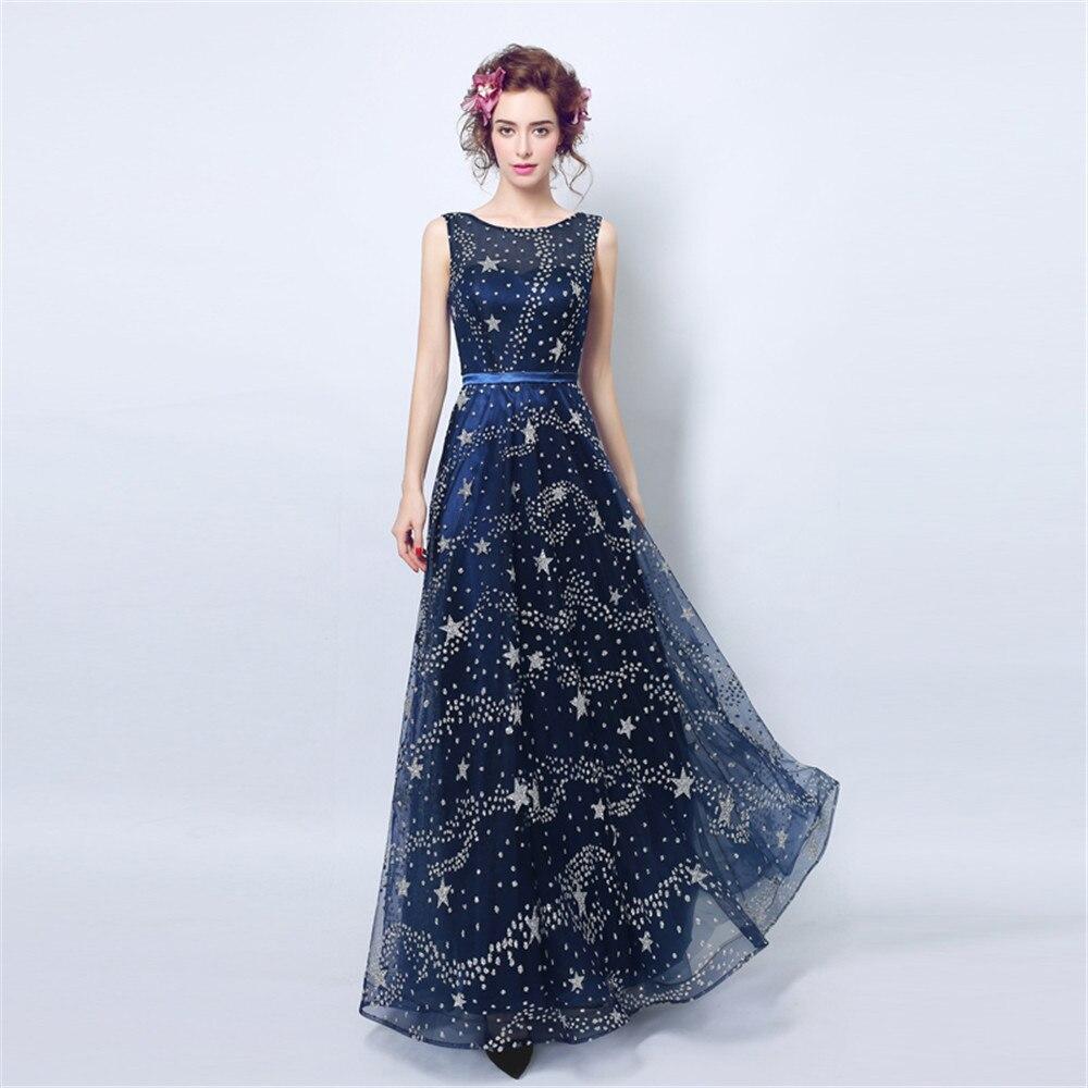 Paillettes étoiles robes sans manches robe de bal robe de soirée o-cou Sexy femmes à lacets sur mesure robes de soirée Vestido Longo
