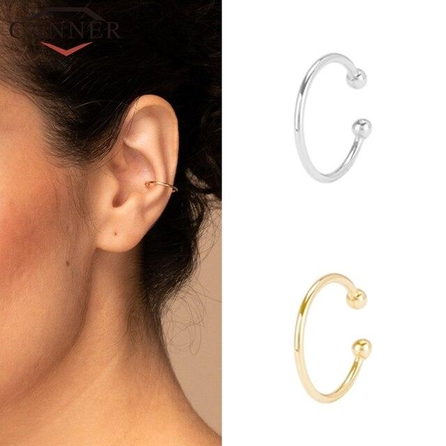 Plata de Ley 925 trepadores de plata de la oreja para mujer 1 Uds encantador Clip de circonio en pendientes 3-14k oro sin Piercing pendientes de joyería