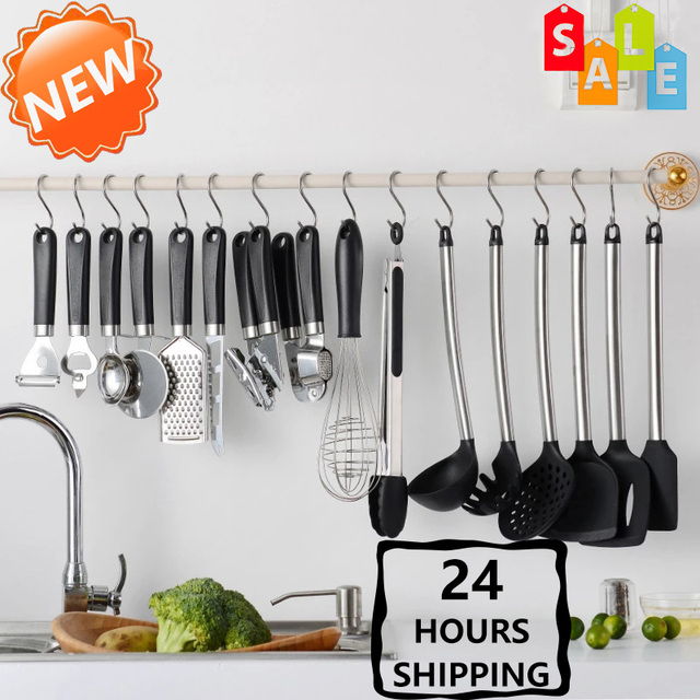 15PCS Silicone Kitchenware Set Stainless Steel Handle Kitchenware With Punch-free Function, Convenient General Environment 1