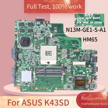 REV.4.1  For ASUS K43SD HM65 N13M-GE1-S-A1 Notebook motherboard Mainboard full test 100% work