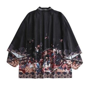 Japanese loose bathrobe meet God of Inari haori summer Sunscreen kimono Cardigan coat cosplay